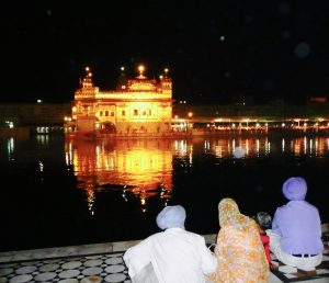 Sikhs admiring the temple